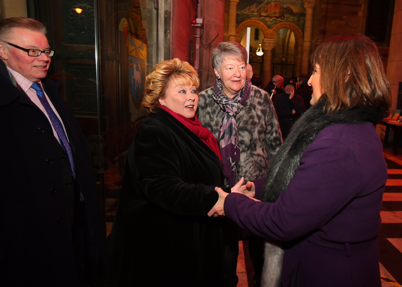 Lord Lieutennant Mrs Fionnuala Jay-O'Boyle  CBE accompanied by her husband Richard Jay greets  N.I. Chamber Of Commerce CEO Ann McGregor and President Elvena Graham.