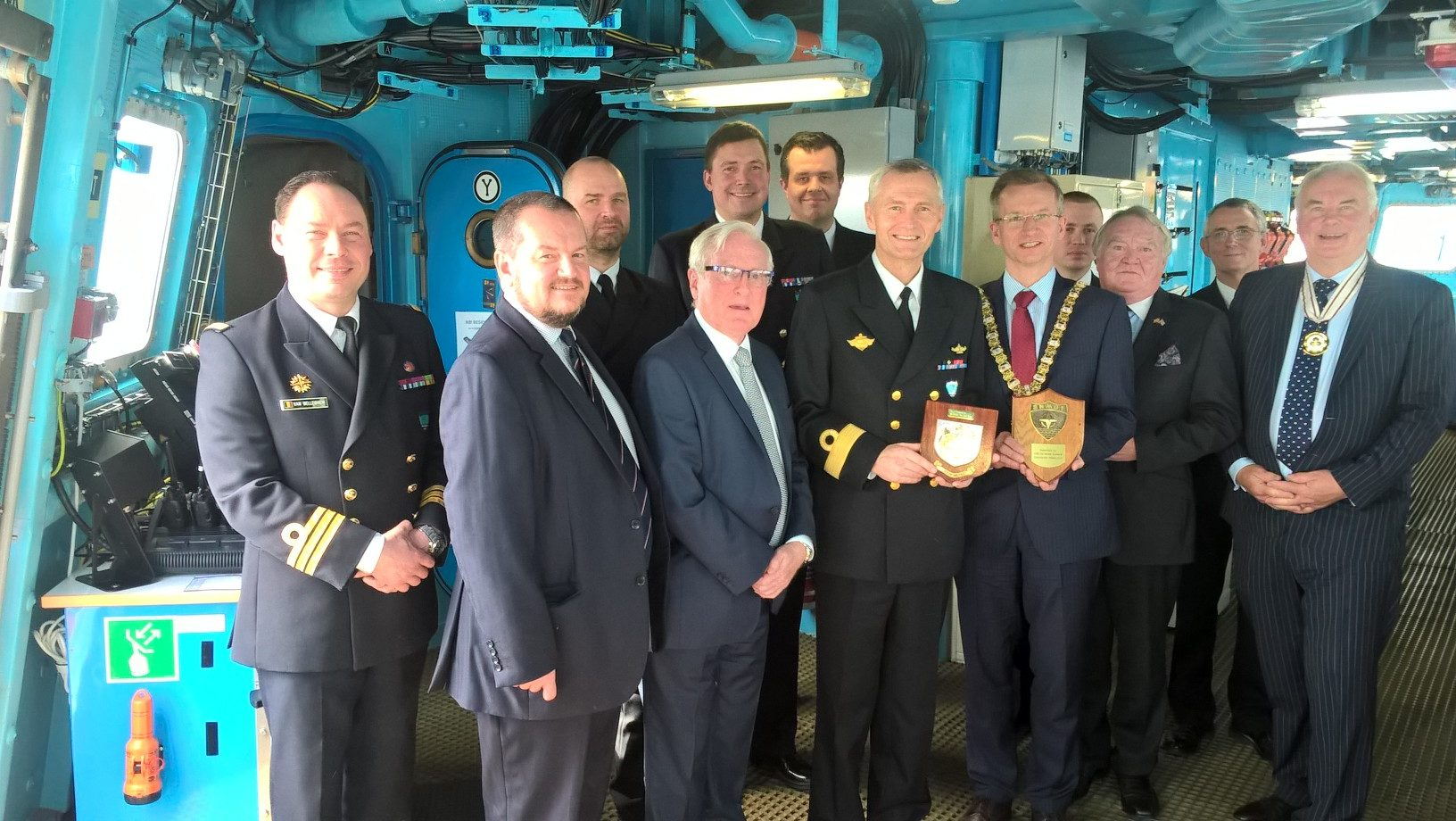 Visit of .HNoMS Roald Amundsen to Belfast with Lord Mayor,fellow DL Alastair Adair and the Honorary Norwegian consul Michael Ewing also present was Commander John Gray RN Senior Naval Officer Northern Ireland the lunch was hosted by Commodore Ole Morten Sandquist,RNoM and his officers.