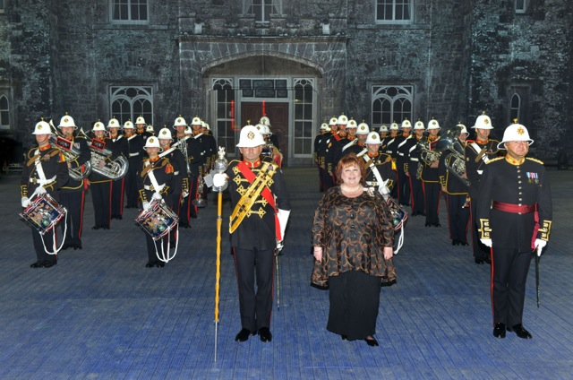 Lord-Lieutenant Mrs Fionnuala Jay-O'Boyle CBE with The Band of Her Majesty's Royal Marines