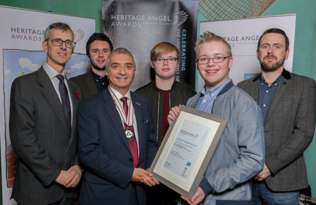 Mukesh Sharma MBE DL pictured with winners and nominees for Young People's Heritage Project award