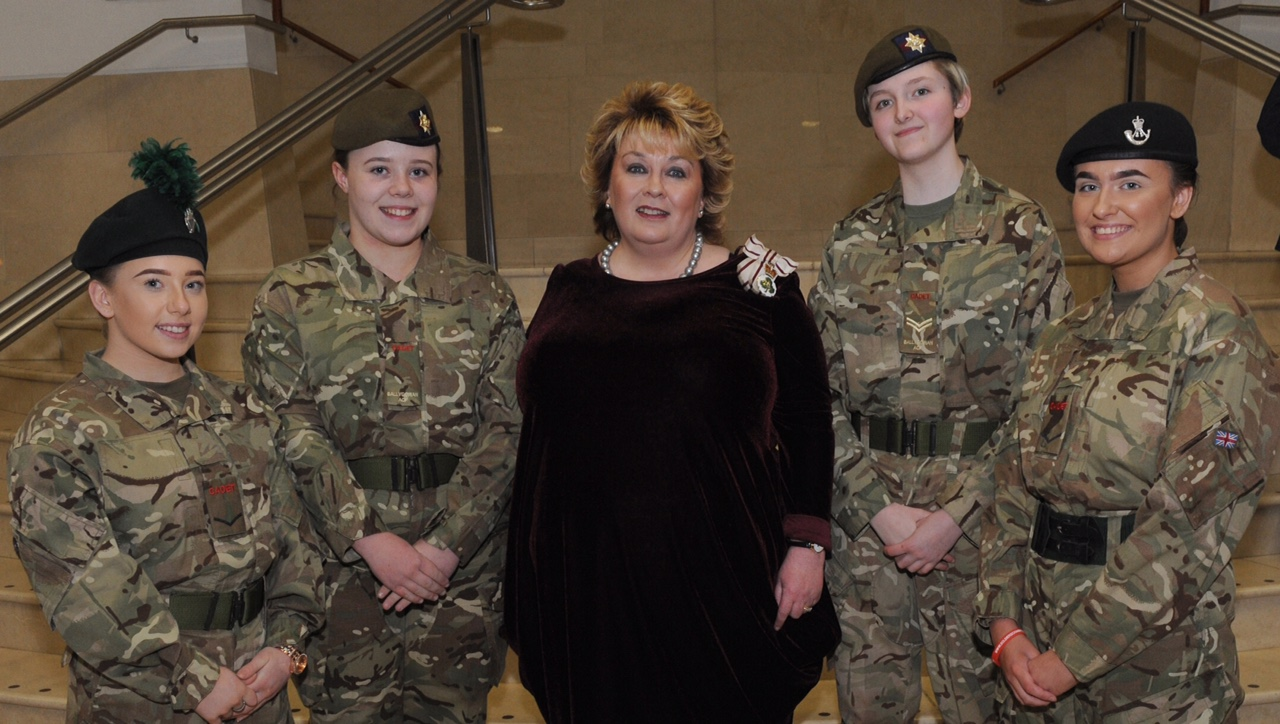 Fionnuala Jay-O'Boyle CBE (Lord Lieutenant of the County Borough of Belfast) and cadets Megan Muik, Rebekah Waddell, Christine Spalding and Amy Johnston pictured at the WW2 Commemoration Concert 'Ulster at War' at the Waterfront Hall on Saturday 24th March.