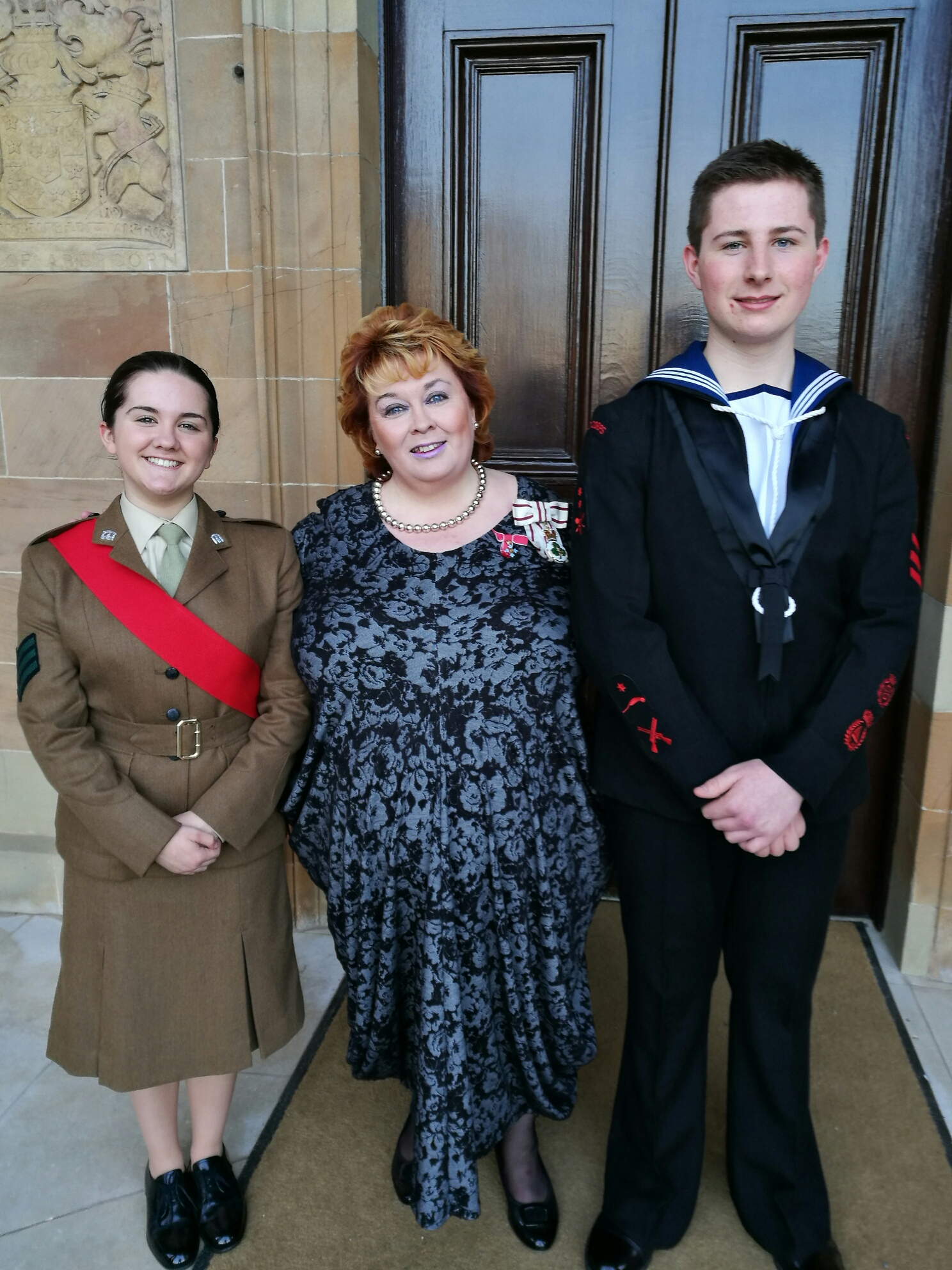 Leading Sea Cadet Patrick Cush and Cadet Sgt Chloe McCrory pictured with Lord Lieutenant Mrs Fionnuala Jay-O'Boyle CBE at a recent investiture ceremony at Hillsborough Castle.