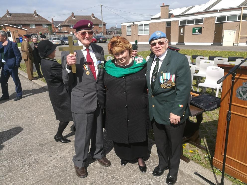 Lord Lieutenant Mrs Fionnuala Jay-O'Boyle with Canon Bob Jennings and colleague