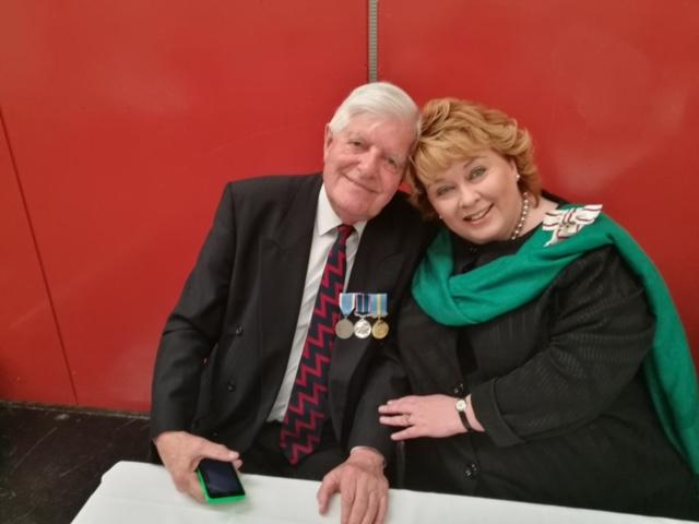 Lord Lieutenant Mrs Fionnuala Jay-O'Boyle with Captain Basil Singletons, Korean veteran from The Royal Ulster Rifles