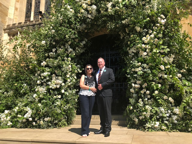 Leigh Patience, Matron of the Somme Nursing Home and her husband George on the steps of St George's Chapel, Windsor. George and Leigh were so proud to represent the Co Borough of Belfast