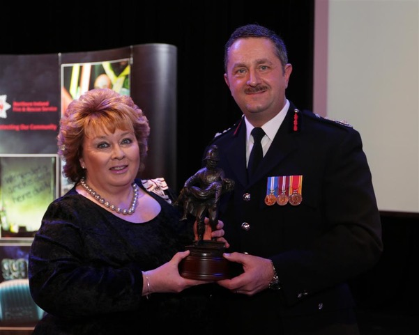 Lord Lieutenant pictured with Chief Fire Officer, Mr Gary Thompson.