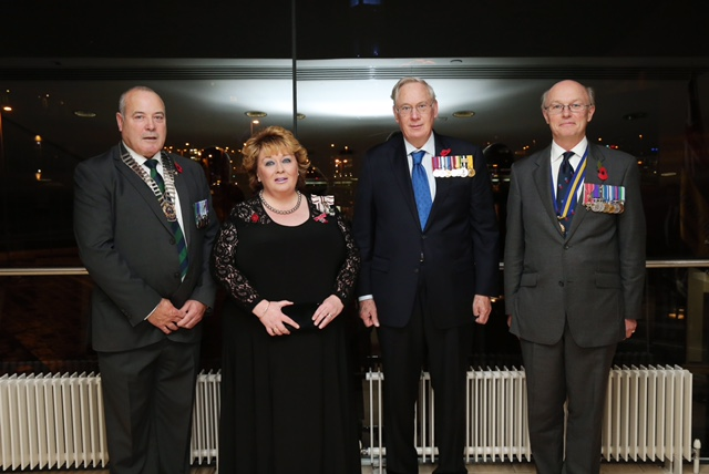 Pictured at the Royal British Legion (RBL) Festival of remembrance 2017, Mr George Black, Chairman, Lord Lieutennant Mrs Fionnuala Jay-O'Boyle CBE, HRH the Duke of Gloucester, Col Neil Salisbury RBL President. Picture by Kelvin Boyes, Presseye The Royal British Legion's Northern Ireland Festival of Remembrance, which took place last night [Saturday 4th November] at Belfast Waterfront, was declared a success by all involved. The 2000 strong audience, which included His Royal Highness The Duke of Gloucester, were treated to performances from home-grown stars of the big screen Jayne Wisener and Fra Fee, The Band of The Royal Irish Regiment, The Bugles, Pipes and Drums of the 2nd Battalion and The Police Male Voice Choir. Pictured left to right are: George Black Royal British Legion Northern Ireland District Chairman, Fionnuala Jay O'Boyle, the Lord Lieutenant for Belfast, His Royal Highness The Duke of Gloucester and Colonel Neil Salisbury, Royal British Legion Northern Ireland District President. Photo by Kelvin Boyes / Press Eye.
