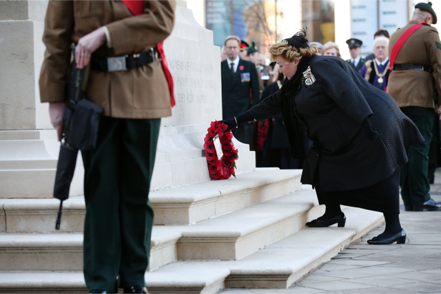 HM Lord Lieutennant Mrs Fionnuala Jay-O'Boyle CBE lays a wreath at Belfast Cenotaph. Photo by Kelvin Boyes, Presseye